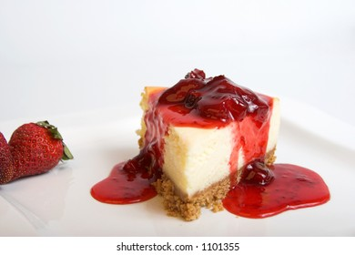 cheesecake with topping,selective focus