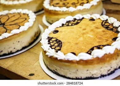 Cheesecakes prepared in the kitchen of Italian restaurant.
