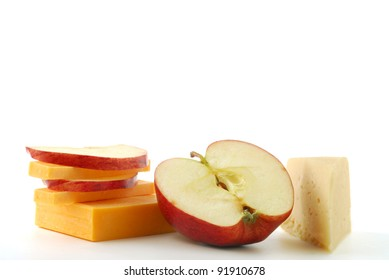 Cheesed and apple studio isolated on white background