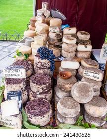 Cheeses at the fair table