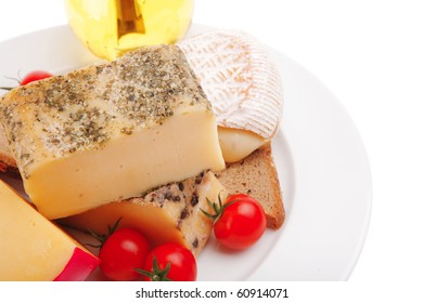 cheeses served with olive oil and bread
