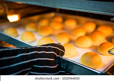 The chef is baking bread with a large oven to prepare for sale.