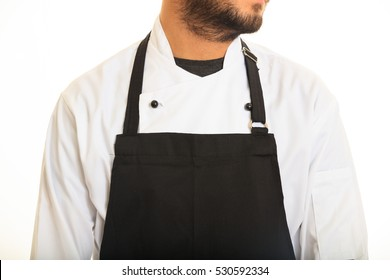 Chef with black apron on white background