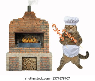 The chef cat with shrimps for barbecue is next to a brick bbq grill. White background. Isolated.