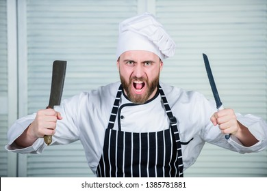 Chef choose professional tools. Chef hold cleaver knife tool ready to chop ingredients. Man wear apron cooking in kitchen. Man use sharp cleaver knife. Types of knives. Sharp knife professional tool.