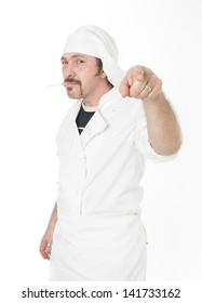 chef with cigarette pointing you isolated on white background