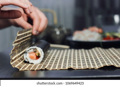 Chef cook making sushi