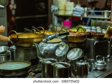 Chef cooking on chinatown (Yaowarat) Road, once of Bangkok landmark and important street for more foods very delicious for thai-chinese style.