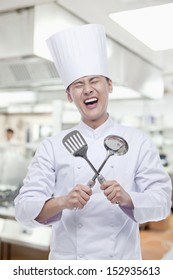 Chef With Cooking Utensils, Mouth Open