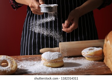 Chef cooks dough for sweets at home