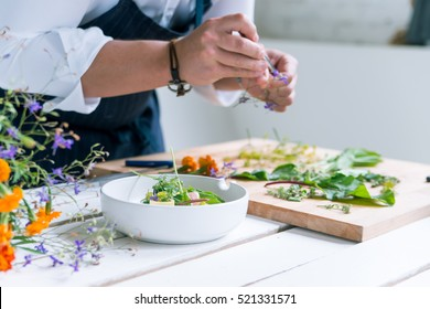 Chef cooks meal