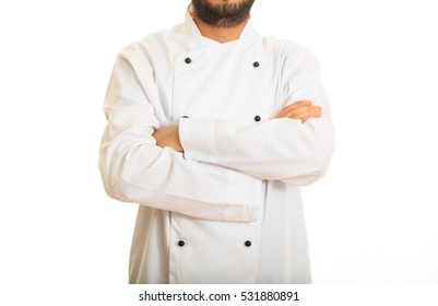 Chef with crossed hands isolated on white background
