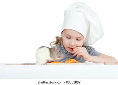 Chef girl and domestic rat eating healthy food together. Isolated on white