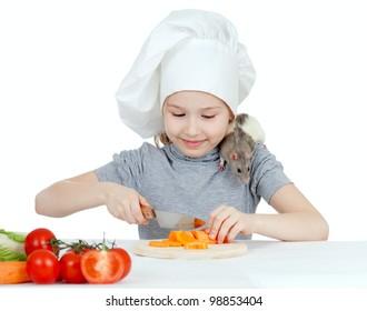 Chef girl preparing healthy food. Helper rat are sitting on her shoulder.