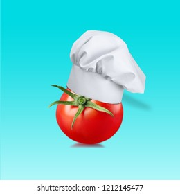 Chef hat with tomato concept on pastel blue background. minimal idea food and fruit concept. An idea creative to produce work within an advertising marketing communications or artwork design.