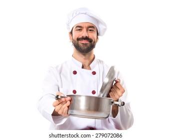 Chef holding pot