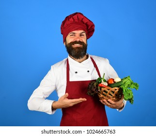 Chef holds lettuce, tomato, pepper and mushrooms. Man with beard on blue background. Healthy cooking concept. Cook with cheerful face in burgundy uniform presents vegetables in wicker bowl.