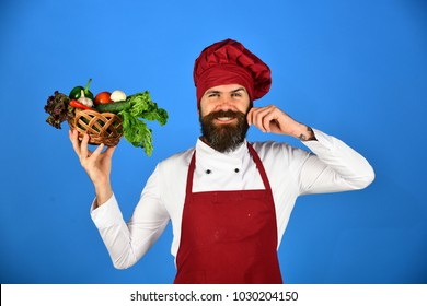 Chef holds lettuce, tomato, pepper and mushrooms. Healthy cooking concept. Man with beard on blue background. Cook with happy face in burgundy uniform holds vegetables in wicker bowl curling mustache