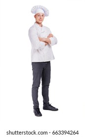 Chef isolated on white, standing