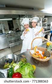 Chef and kitchen staff. Teamwork