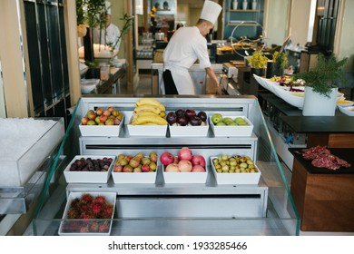 A chef in a luxury hotel is preparing an evening buffet, August 16, 2019, Hangzhou, China