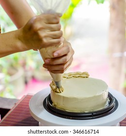 chef making and decoration homemade cake