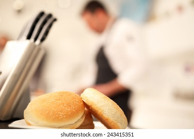 Chef on background blurred during food preparation