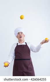 Chef play with food concept isolated on white background