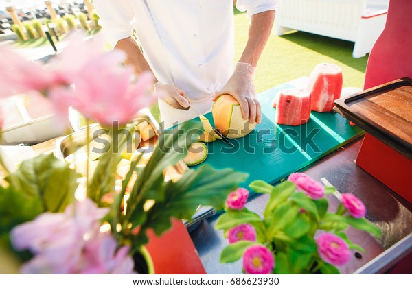 Chef Prepares Fruit Salad Stock Image Download Now