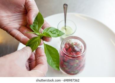 chef prepares vegetarian vegetable salad.