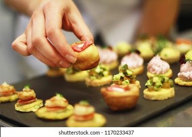 chef preparing canape platter