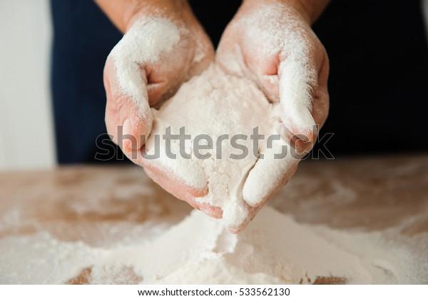 Chef preparing dough - cooking process