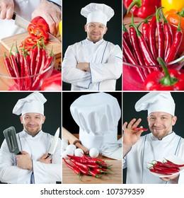 Chef preparing food, collage