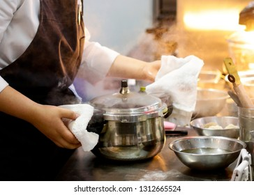 Chef preparing food, meal, in the kitchen, chef cooking, Chef decorating dish, closeup