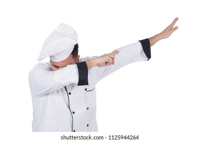 Chef raising his arms doing the dap movement in his uniform, isolated on a white background.