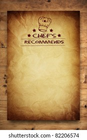 chef recommends paper poster on wooden background