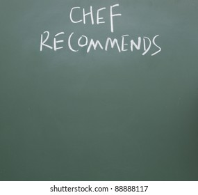 chef recommends title handwritten with  chalk on blackboard