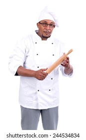 Chef with rolling pin isolated on white background