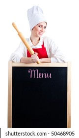 Chef with rolling pin show menu on blackboard