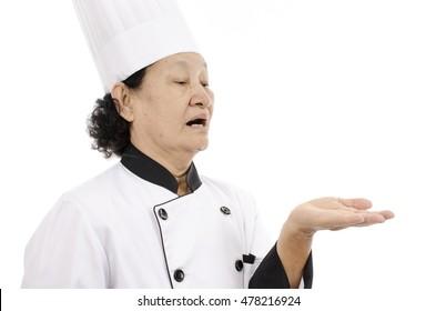 chef senior woman over white background