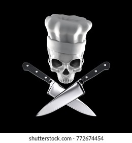 Chef skull concept / 3D illustration of skull wearing chef hat above crossed kitchen knives