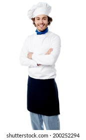 Chef standing on white background with arms crossed