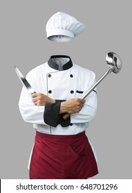 Chef uniform with hand hold on knife and ladle isolated on grey background