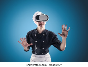 Chef with virtual reality on a blue background in HD quality