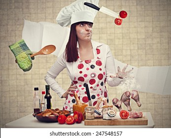chef woman cooking with magic