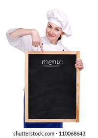 Chef woman holding the menu board on white background