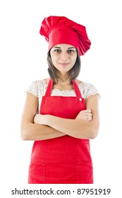 Chef woman. Isolated over white background.