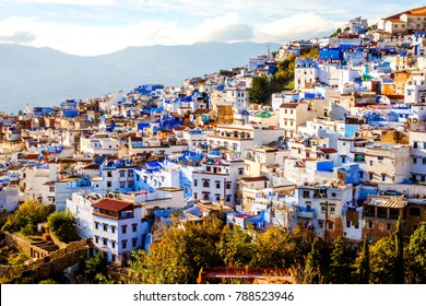 Chefchaouen, blue city skyline on the hill, Morocco