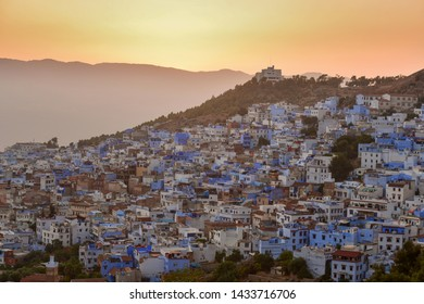 Chefchaouen Blue town Morocco Africa City view during sunset,Morocco