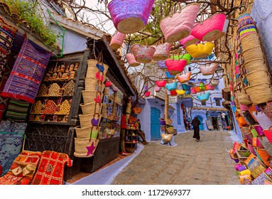 CHEFCHAOUEN, MOROCCO - APRIL 11, 2016: Colorful moroccan handmade souvenirs in blue city Chefchaouen, Morocco, Africa.